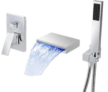 Dr Faucet LED Waterfall Tub Faucet With Hand Shower