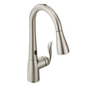 moen arbor motionsense wave sensor touchless one-handle high arc pulldown kitchen faucet