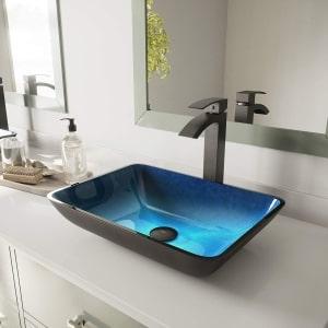 Vigo Above Counter Rectangular Bathroom Sink